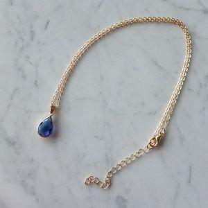Elegant Drop Pendant Necklace - Navy Blue Stone